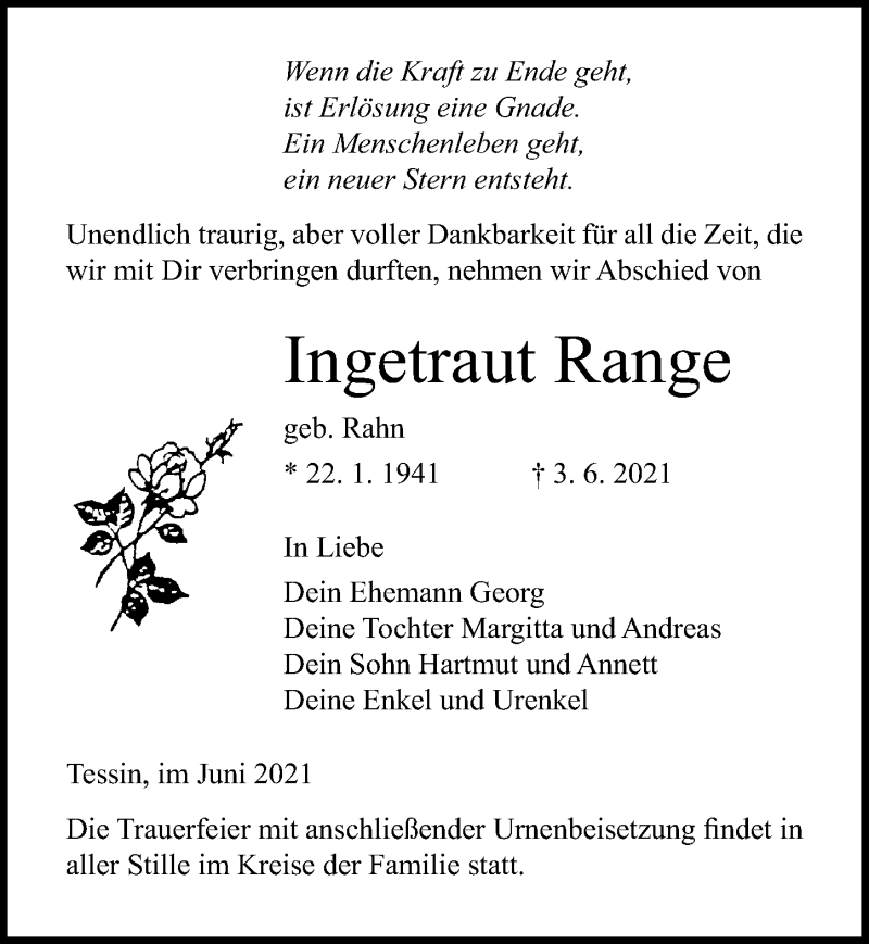 Traueranzeige für Ingetraut Range vom 05.06.2021 aus Ostsee-Zeitung GmbH