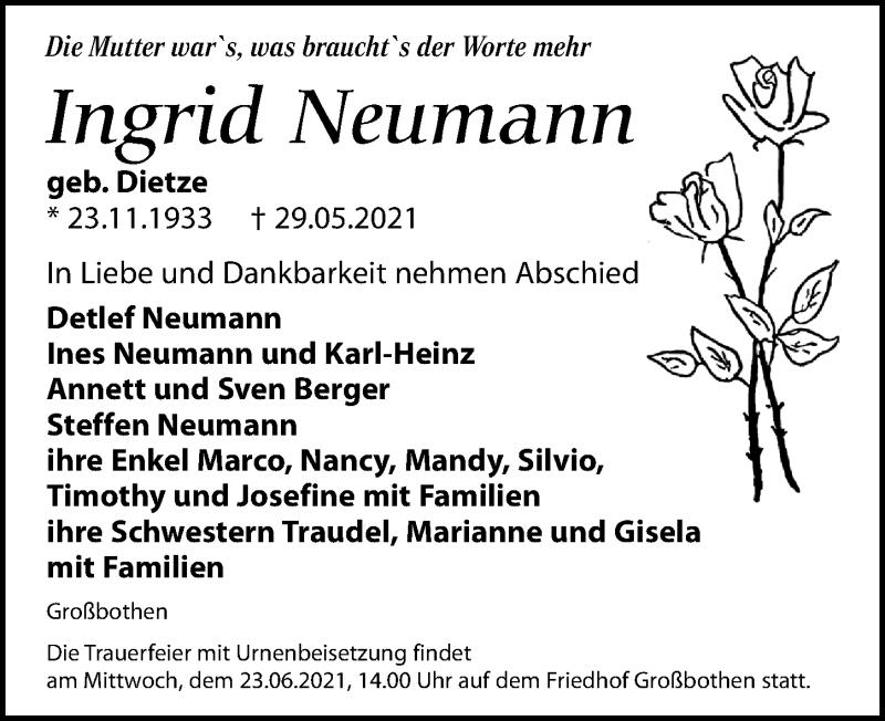 Traueranzeige für Ingrid Neumann vom 05.06.2021 aus Leipziger Volkszeitung