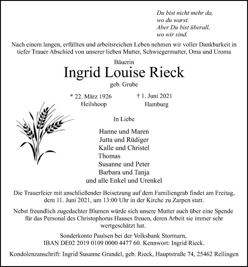 Traueranzeige für Ingrid Louise Rieck vom 06.06.2021 aus Lübecker Nachrichten