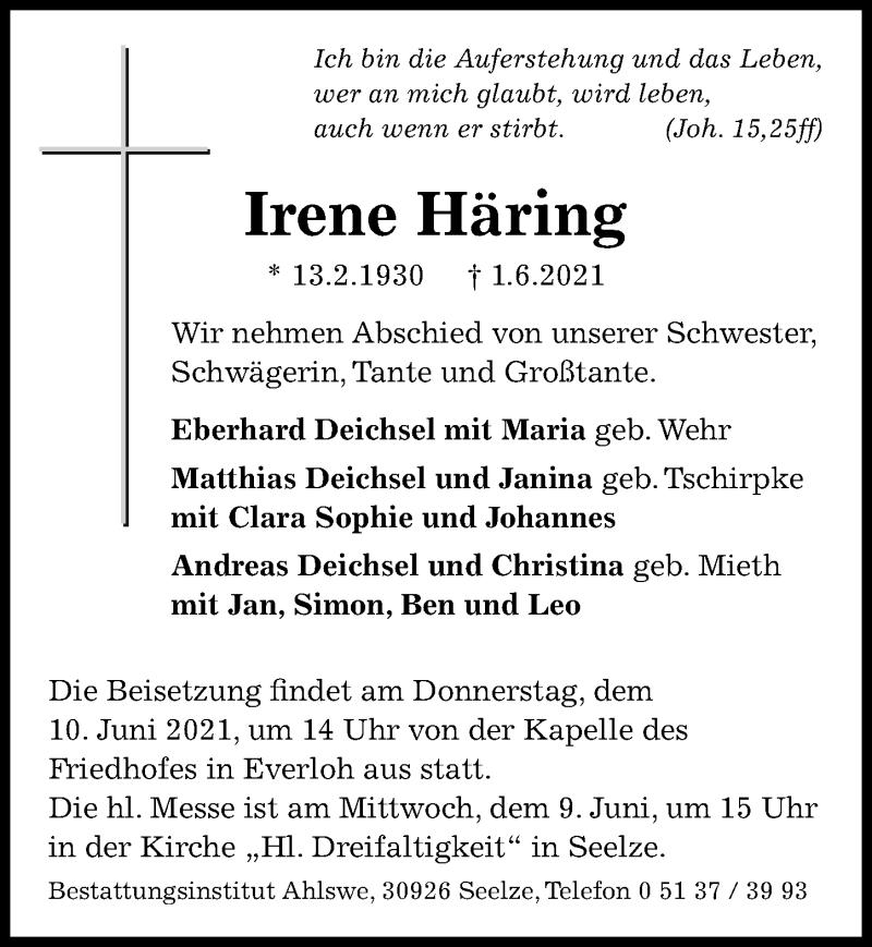 Traueranzeige für Irene Häring vom 05.06.2021 aus Hannoversche Allgemeine Zeitung/Neue Presse