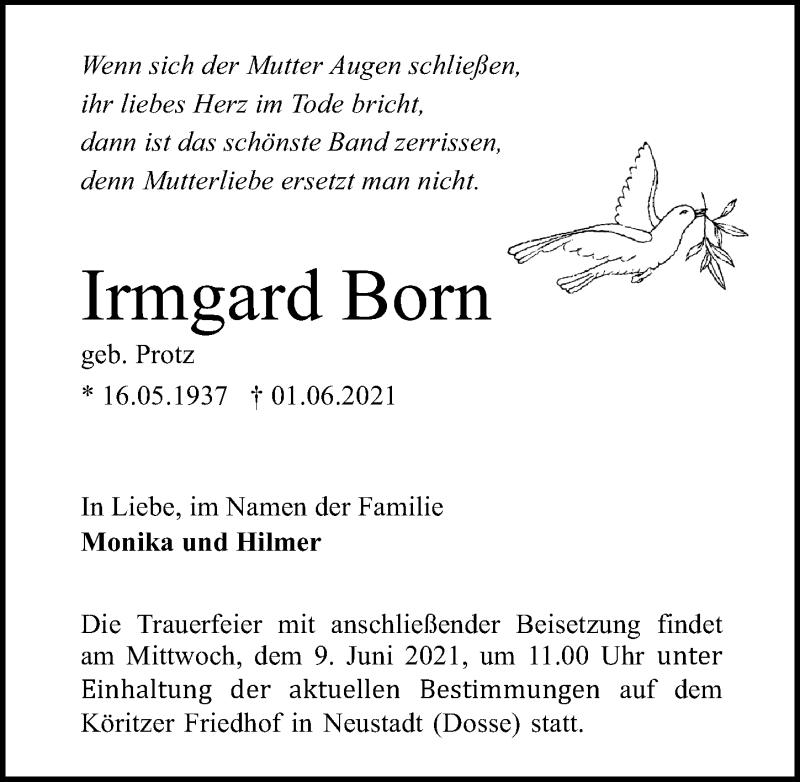 Traueranzeige für Irmgard Born vom 05.06.2021 aus Märkischen Allgemeine Zeitung