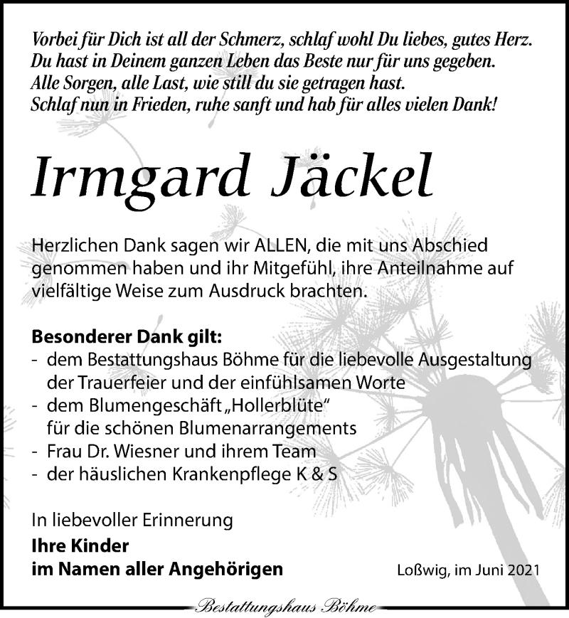 Traueranzeige für Irmgard Jäckel vom 19.06.2021 aus Torgauer Zeitung