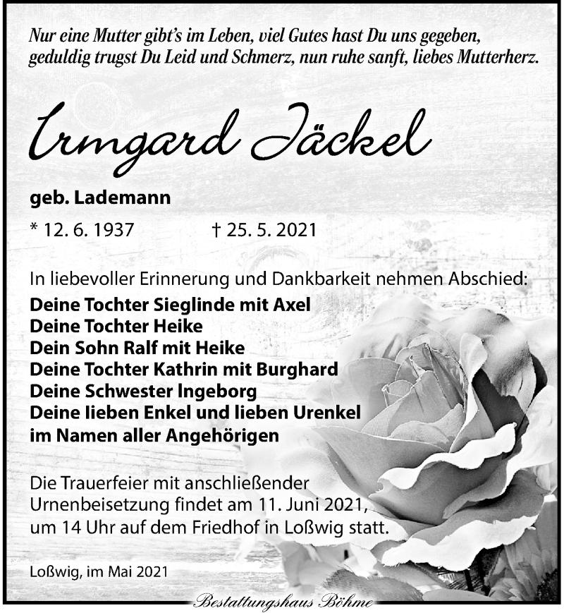 Traueranzeige für Irmgard Jäckel vom 05.06.2021 aus Torgauer Zeitung