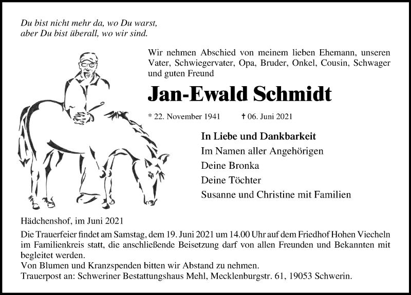 Traueranzeige für Jan-Ewald Schmidt vom 16.06.2021 aus Ostsee-Zeitung GmbH