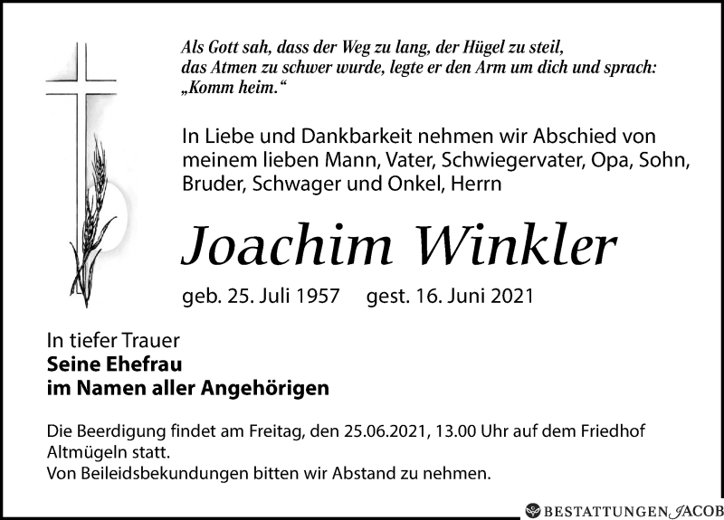 Traueranzeige für Joachim Winkler vom 19.06.2021 aus Leipziger Volkszeitung