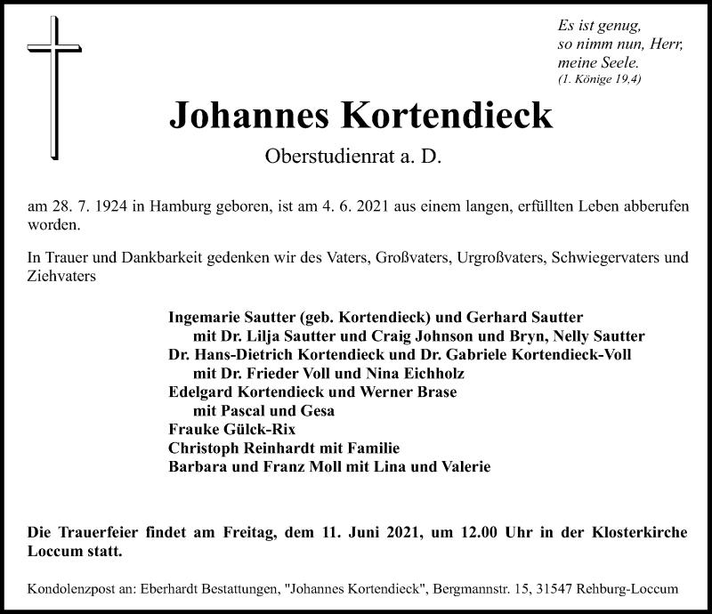 Traueranzeige für Johannes Kortendieck vom 08.06.2021 aus Schaumburger Nachrichten