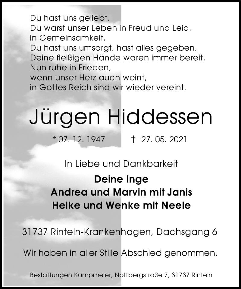 Traueranzeige für Jürgen Hiddessen vom 05.06.2021 aus Schaumburger Nachrichten