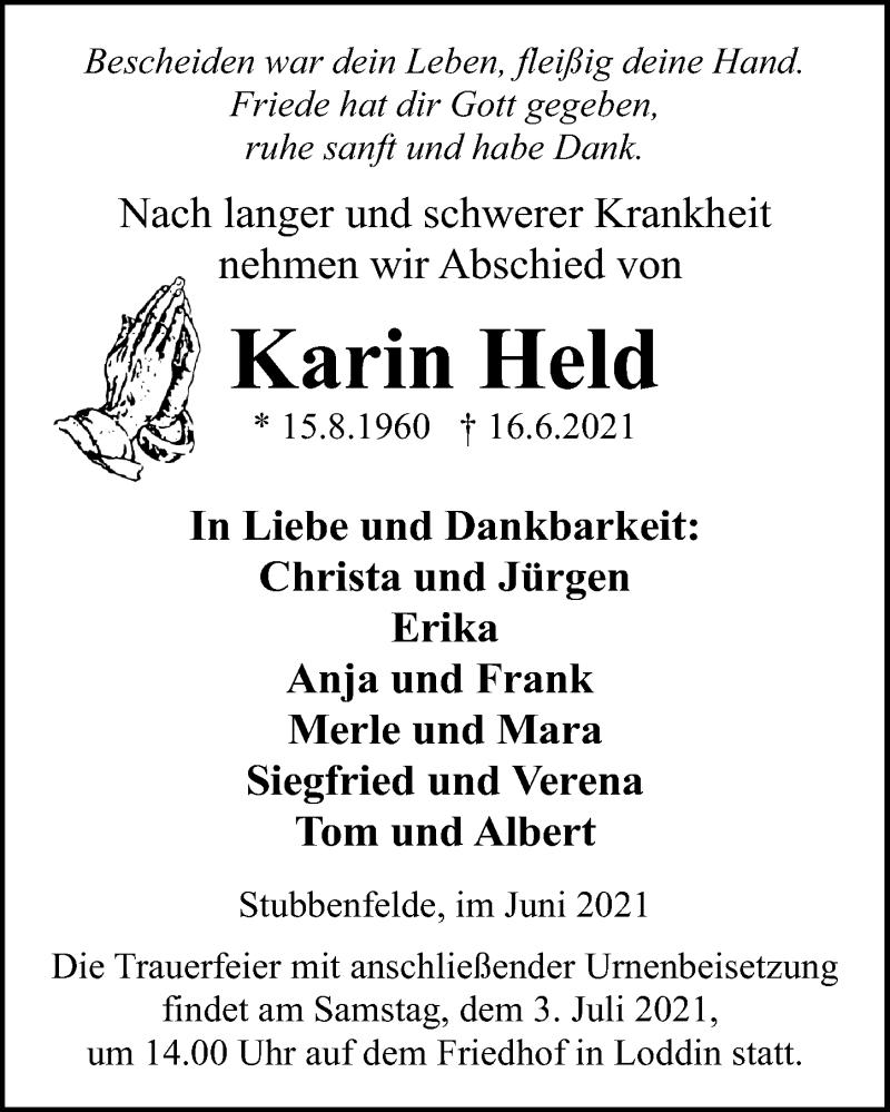 Traueranzeige für Karin Held vom 19.06.2021 aus Ostsee-Zeitung GmbH
