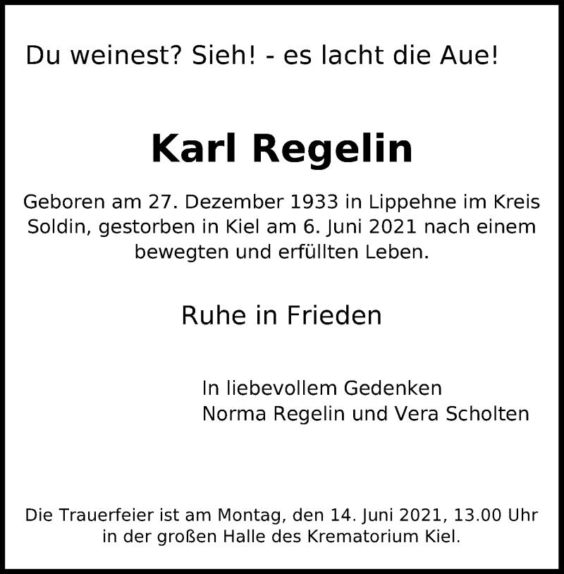 Traueranzeige für Karl Regelin vom 10.06.2021 aus Kieler Nachrichten