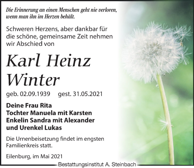 Traueranzeige für Karl Heinz Winter vom 05.06.2021 aus Leipziger Volkszeitung