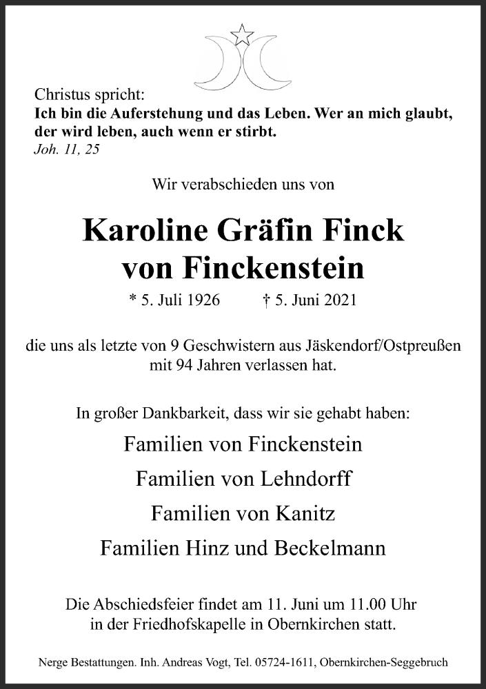 Traueranzeige für Karoline Gräfin Finck von Finckenstein vom 09.06.2021 aus Schaumburger Nachrichten