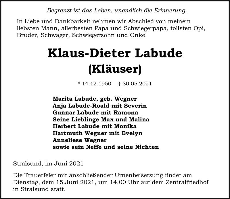 Traueranzeige für Klaus-Dieter Labude vom 05.06.2021 aus Ostsee-Zeitung GmbH