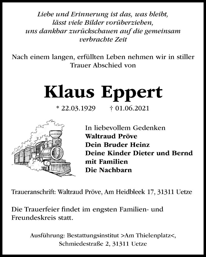 Traueranzeige für Klaus Eppert vom 12.06.2021 aus Hannoversche Allgemeine Zeitung/Neue Presse