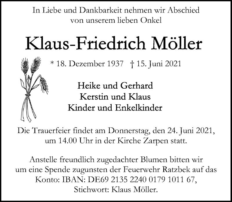 Traueranzeige für Klaus-Friedrich Möller vom 20.06.2021 aus Lübecker Nachrichten