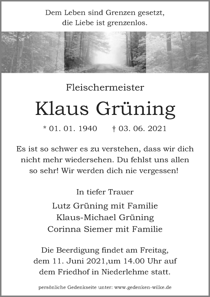 Traueranzeige für Klaus Grüning vom 08.06.2021 aus Märkischen Allgemeine Zeitung