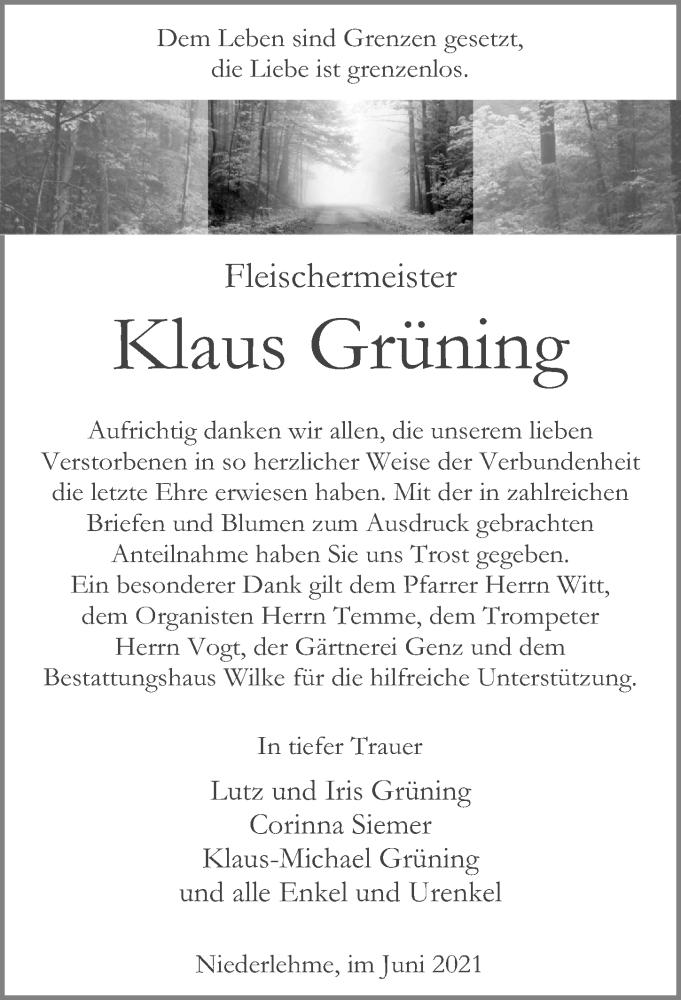Traueranzeige für Klaus Grüning vom 19.06.2021 aus Märkischen Allgemeine Zeitung