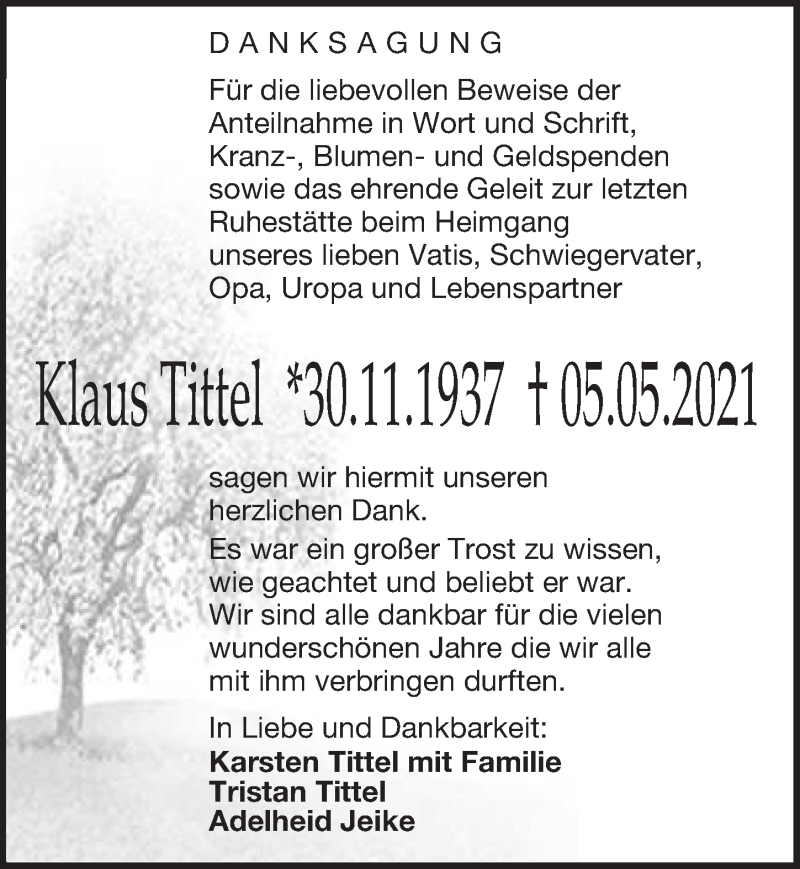 Traueranzeige für Klaus Tittel vom 10.06.2021 aus Leipziger Volkszeitung