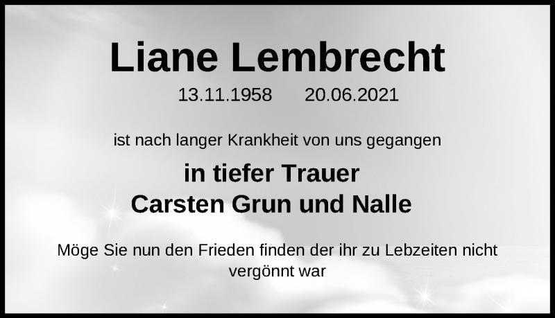 Traueranzeige für Liane Lembrecht vom 22.06.2021 aus Kieler Nachrichten
