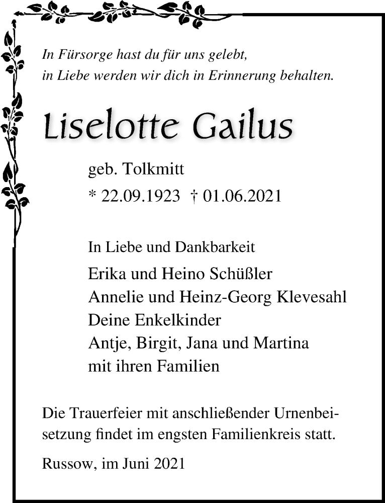 Traueranzeige für Liselotte Gailus vom 05.06.2021 aus Ostsee-Zeitung GmbH