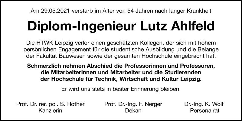Traueranzeige für Lutz Ahlfeld vom 05.06.2021 aus Leipziger Volkszeitung