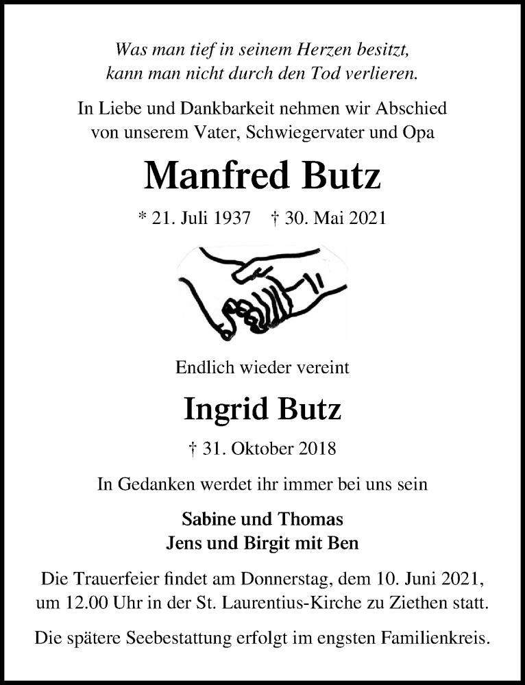 Traueranzeige für Manfred Butz vom 06.06.2021 aus Lübecker Nachrichten