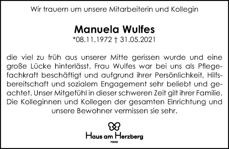 Traueranzeige für Manuela Wulfes vom 19.06.2021 aus Peiner Allgemeine Zeitung