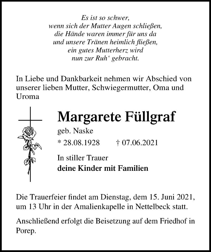 Traueranzeige für Margarete Füllgraf vom 09.06.2021 aus Märkischen Allgemeine Zeitung