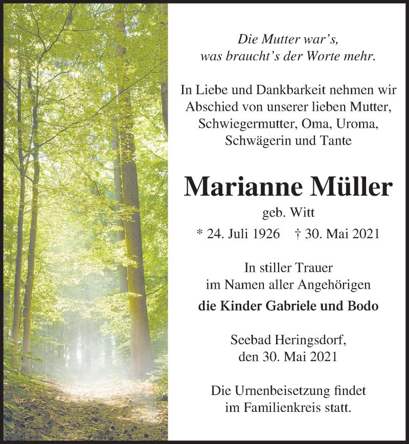 Traueranzeige für Marianne Müller vom 05.06.2021 aus Ostsee-Zeitung GmbH