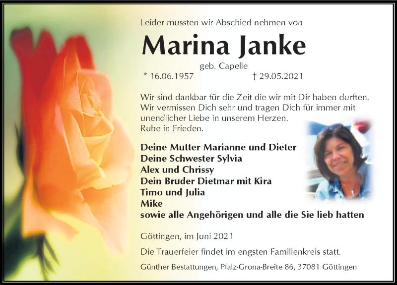 Traueranzeige für Marina Janke vom 05.06.2021 aus Göttinger Tageblatt