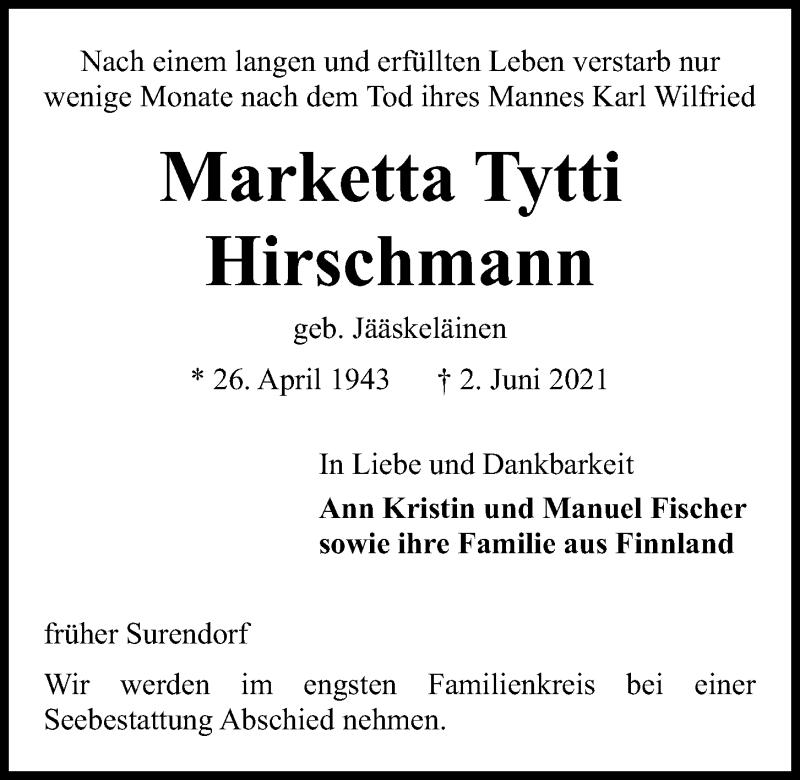 Traueranzeige für Marketta Tytti Hirschmann vom 05.06.2021 aus Kieler Nachrichten