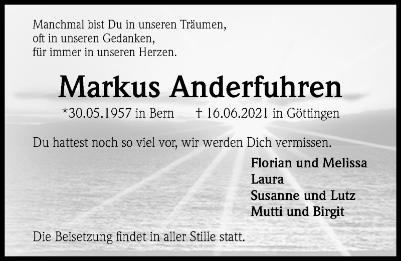 Traueranzeige von  Markus Anderfuhren