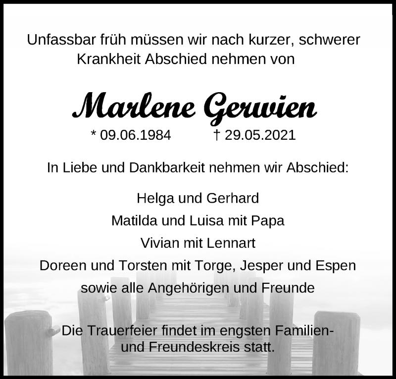Traueranzeige für Marlene Gerwien vom 06.06.2021 aus Lübecker Nachrichten