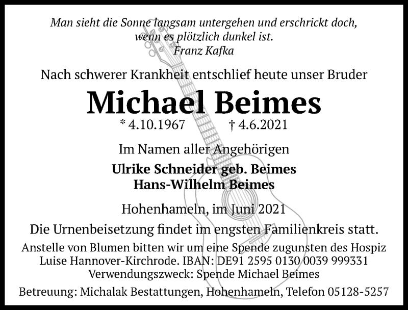 Traueranzeige für Michael Beimes vom 08.06.2021 aus Hannoversche Allgemeine Zeitung/Neue Presse