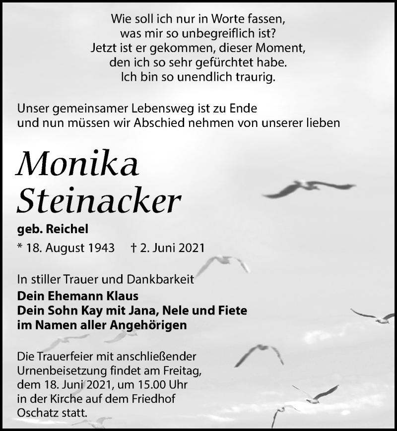 Traueranzeige für Monika Steinacker vom 12.06.2021 aus Leipziger Volkszeitung