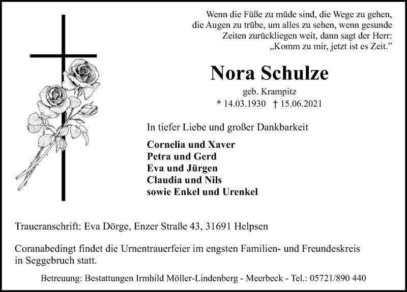 Traueranzeige für Nora Schulze vom 19.06.2021 aus Schaumburger Nachrichten