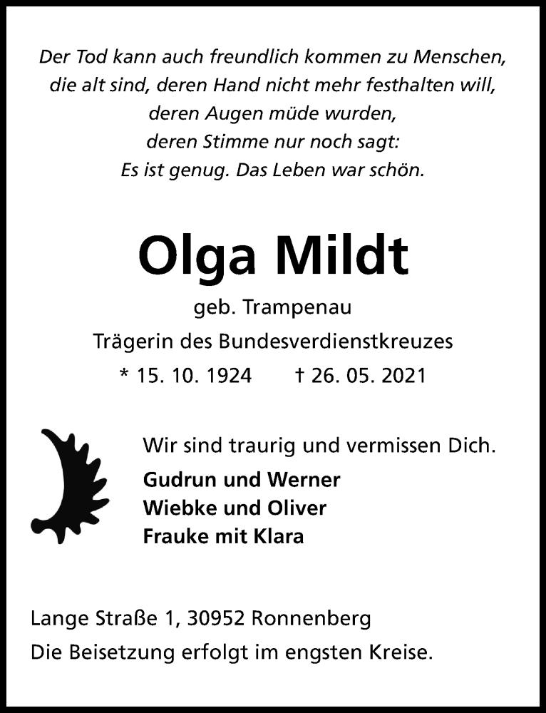 Traueranzeige für Olga Mildt vom 05.06.2021 aus Hannoversche Allgemeine Zeitung/Neue Presse