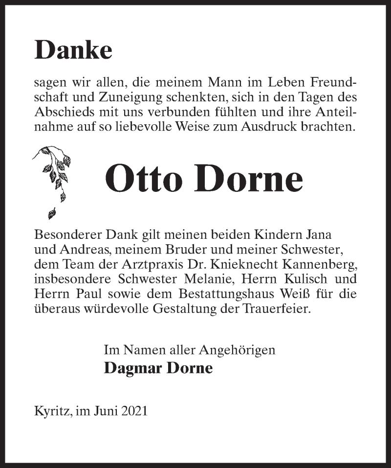 Traueranzeige für Otto Dorne vom 19.06.2021 aus Märkischen Allgemeine Zeitung