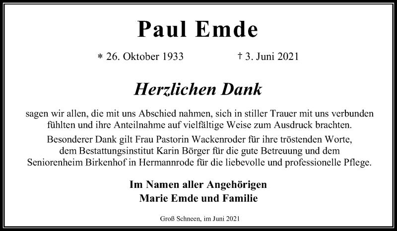 Traueranzeige für Paul Emde vom 19.06.2021 aus Göttinger Tageblatt