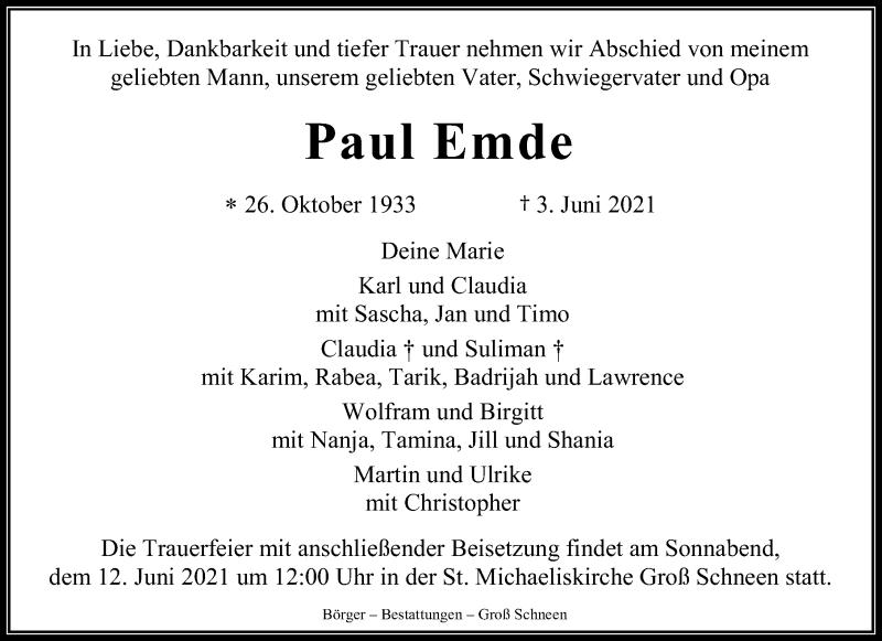 Traueranzeige für Paul Emde vom 09.06.2021 aus Göttinger Tageblatt