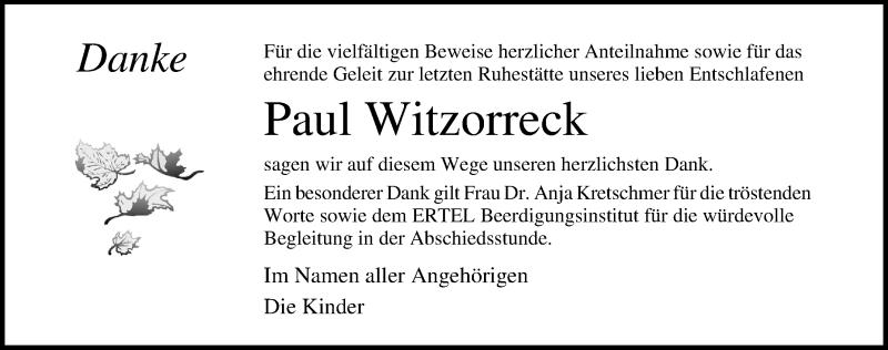 Traueranzeige für Paul Witzorreck vom 05.06.2021 aus Ostsee-Zeitung GmbH