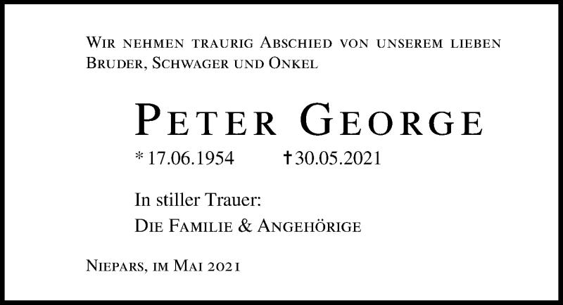 Traueranzeige für Peter George vom 05.06.2021 aus Ostsee-Zeitung GmbH