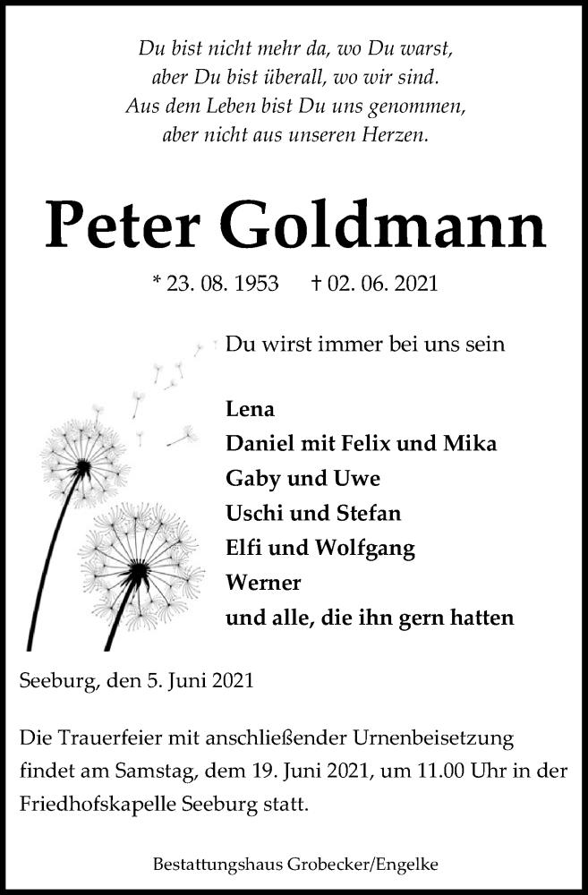 Traueranzeige für Peter Goldmann vom 05.06.2021 aus Eichsfelder Tageblatt