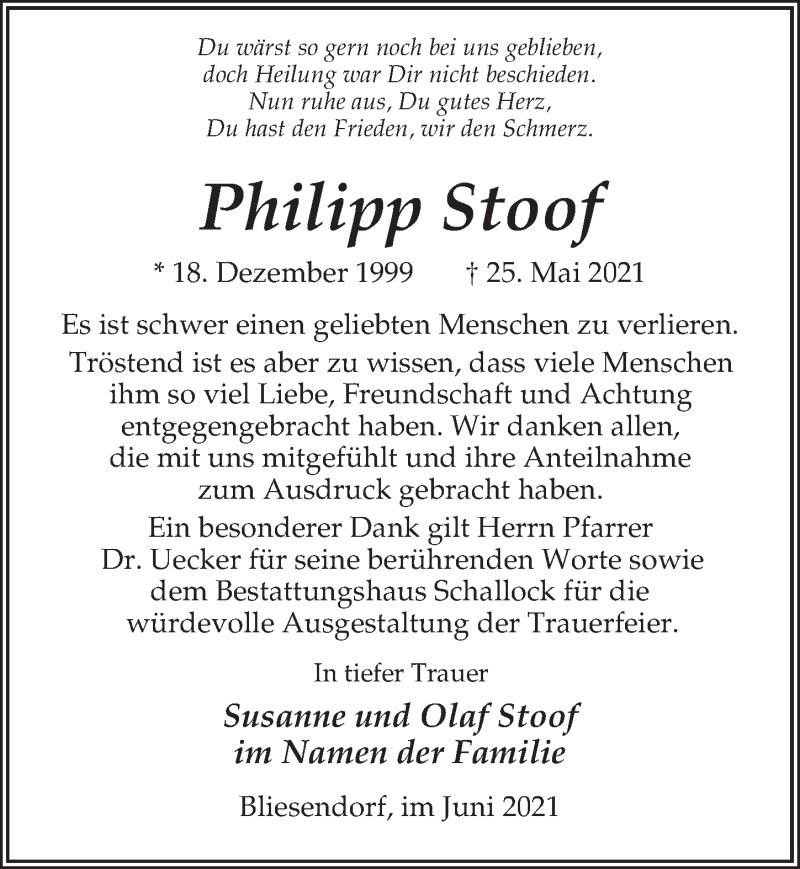 Traueranzeige für Philipp Stoof vom 12.06.2021 aus Märkischen Allgemeine Zeitung