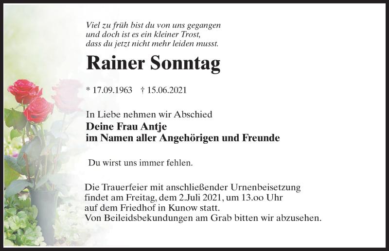 Traueranzeige für Rainer Sonntag vom 19.06.2021 aus Märkischen Allgemeine Zeitung