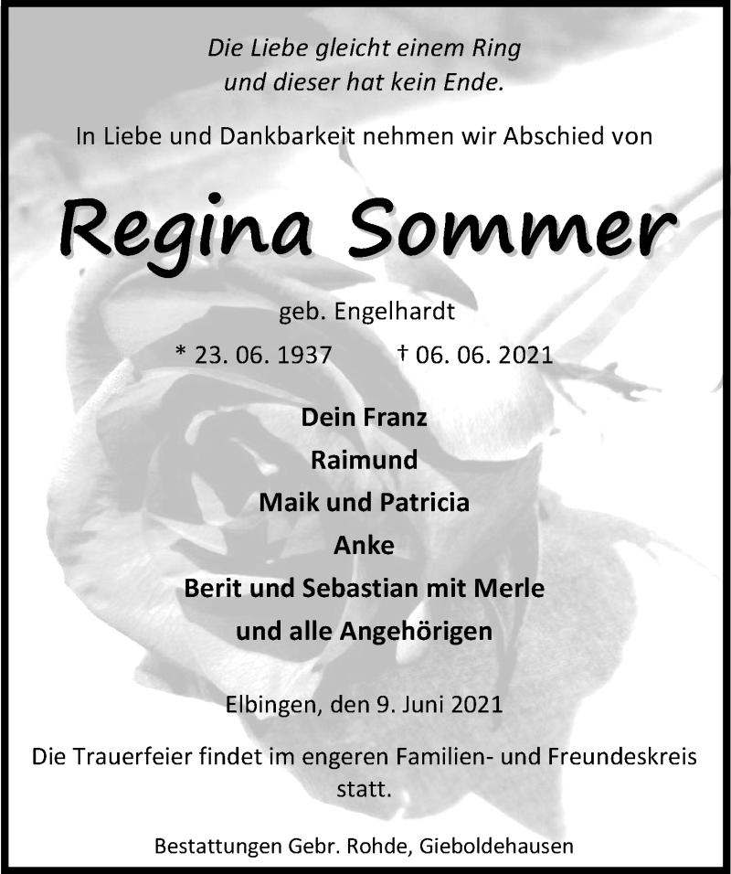 Traueranzeige für Regiina Sommer vom 09.06.2021 aus Eichsfelder Tageblatt