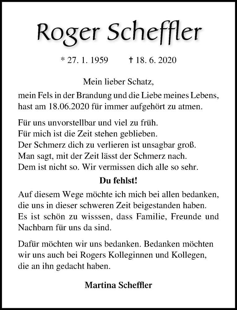Traueranzeige für Roger Scheffler vom 20.06.2021 aus Lübecker Nachrichten