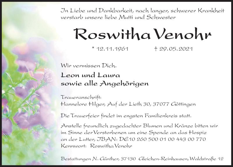 Traueranzeige für Roswitka Venohr vom 05.06.2021 aus Göttinger Tageblatt