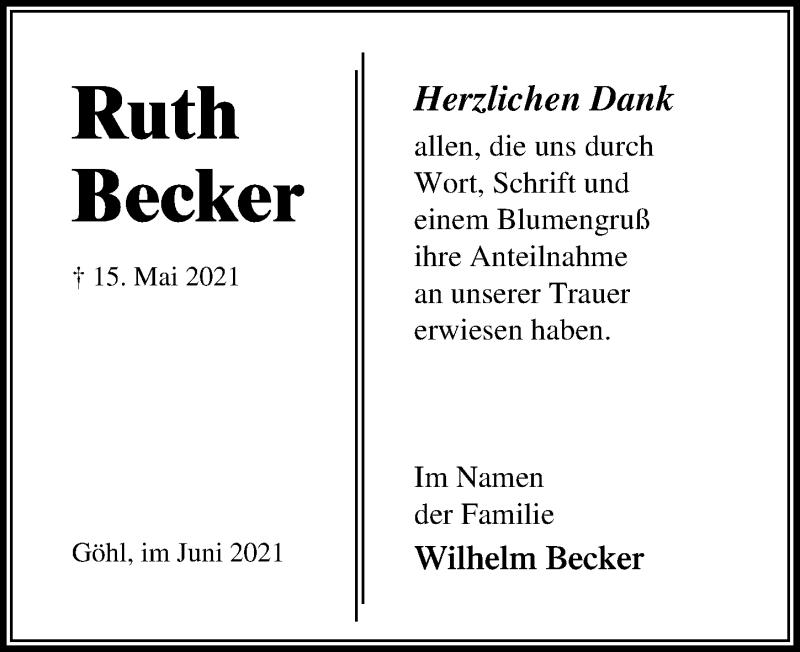 Traueranzeige für Ruth Becker vom 11.06.2021 aus Lübecker Nachrichten