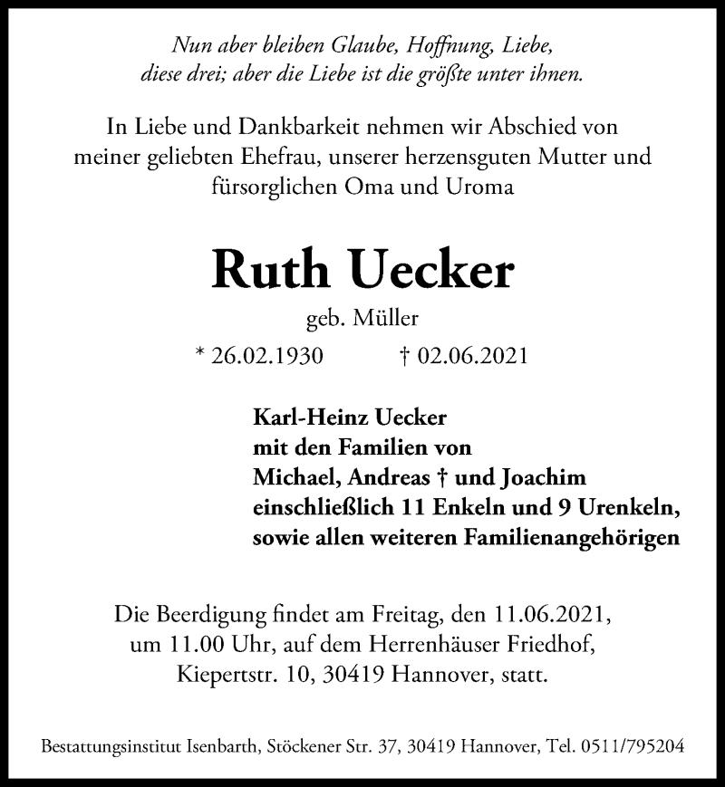 Traueranzeige für Ruth Uecker vom 09.06.2021 aus Hannoversche Allgemeine Zeitung/Neue Presse