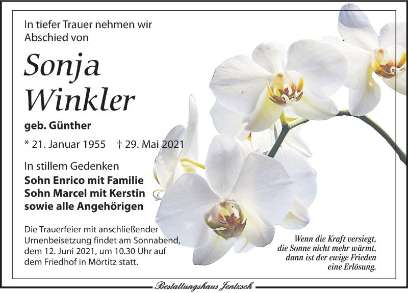 Traueranzeige für Sonja Winkler vom 05.06.2021 aus Leipziger Volkszeitung